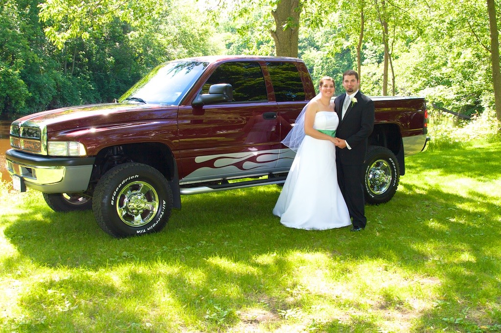 Bride and Groom with their Truck Outroors in River Park, Sheboygan Falls, WI