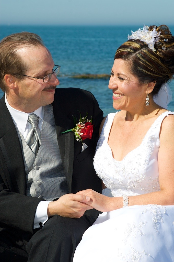 Groom and Bride on Sheboygan Lakefront for their Wedding Day Portraits